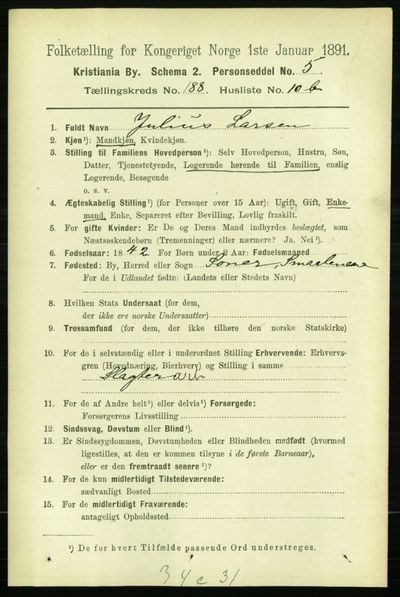 Image from object titled Folketelling 1891 - Kristiania - personsedler - side 112753