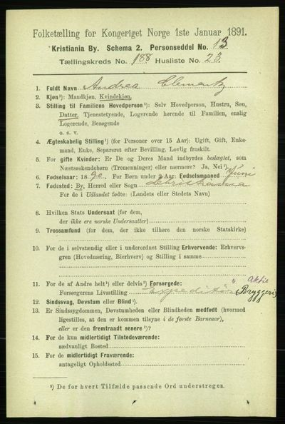 Image from object titled Folketelling 1891 - Kristiania - personsedler - side 112939