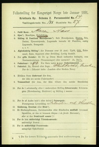 Image from object titled Folketelling 1891 - Kristiania - personsedler - side 113027