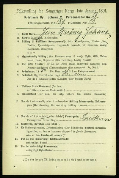 Image from object titled Folketelling 1891 - Kristiania - personsedler - side 113616