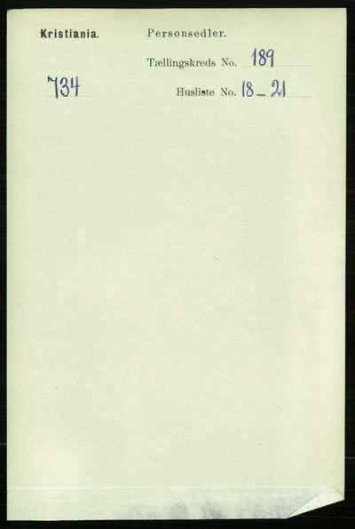 Image from object titled Folketelling 1891 - Kristiania - personsedler - side 113874