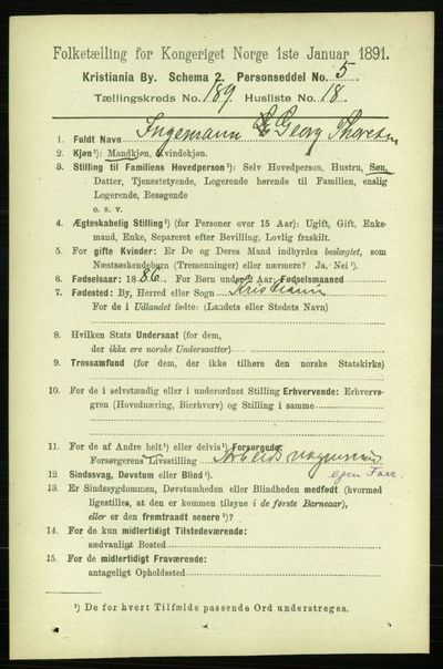 Image from object titled Folketelling 1891 - Kristiania - personsedler - side 113879