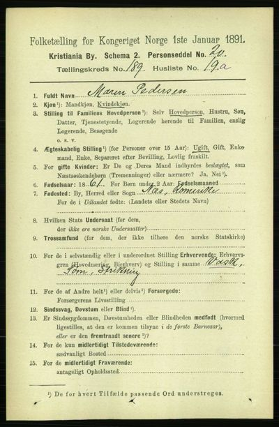 Image from object titled Folketelling 1891 - Kristiania - personsedler - side 113947