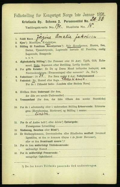 Image from object titled Folketelling 1891 - Kristiania - personsedler - side 114258