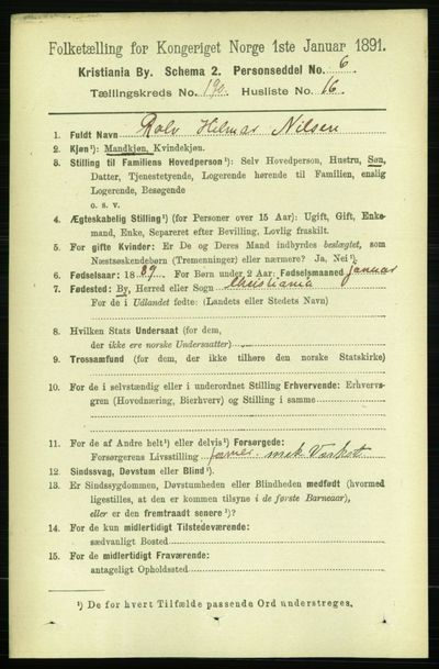 Image from object titled Folketelling 1891 - Kristiania - personsedler - side 114265
