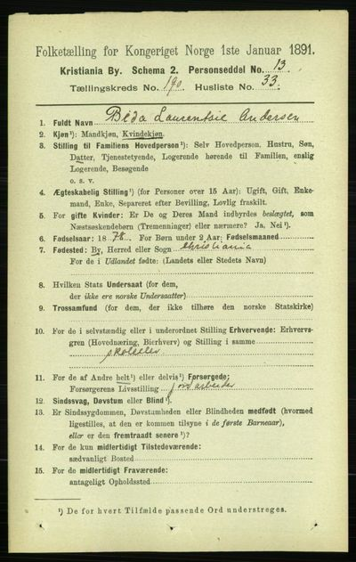 Image from object titled Folketelling 1891 - Kristiania - personsedler - side 114496