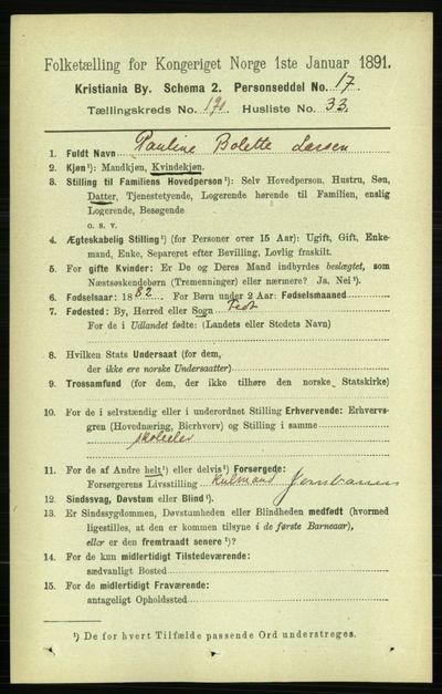 Image from object titled Folketelling 1891 - Kristiania - personsedler - side 114500