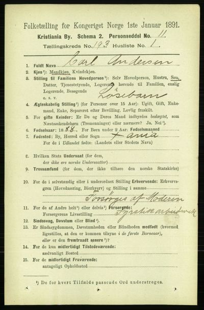 Image from object titled Folketelling 1891 - Kristiania - personsedler - side 116135