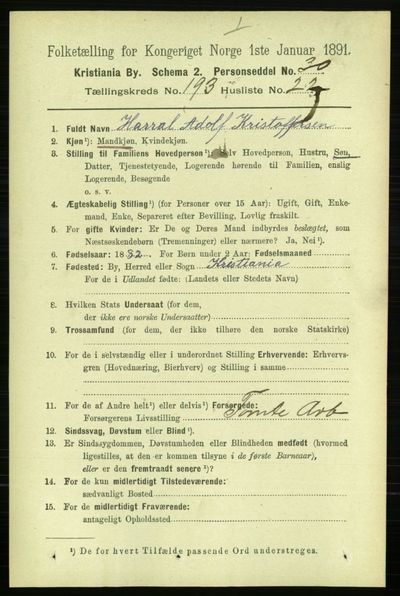Image from object titled Folketelling 1891 - Kristiania - personsedler - side 116606