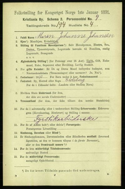 Image from object titled Folketelling 1891 - Kristiania - personsedler - side 116943