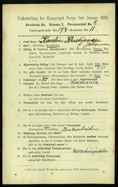 Image from object titled Folketelling 1891 - Kristiania - personsedler - side 117023