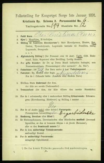 Image from object titled Folketelling 1891 - Kristiania - personsedler - side 117040