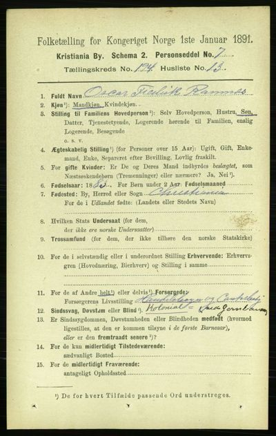 Image from object titled Folketelling 1891 - Kristiania - personsedler - side 117051