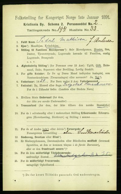 Image from object titled Folketelling 1891 - Kristiania - personsedler - side 117365