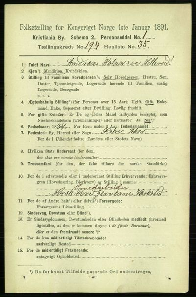 Image from object titled Folketelling 1891 - Kristiania - personsedler - side 117399