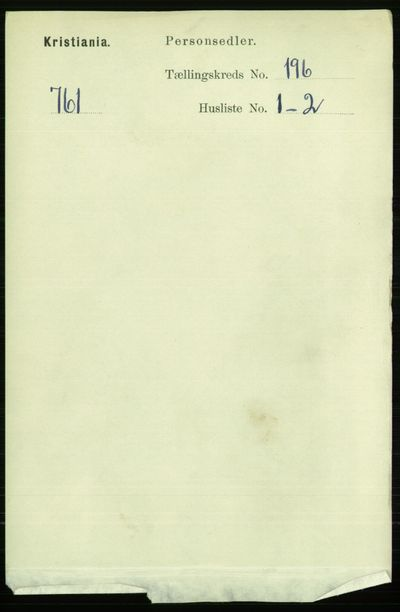 Image from object titled Folketelling 1891 - Kristiania - personsedler - side 118092