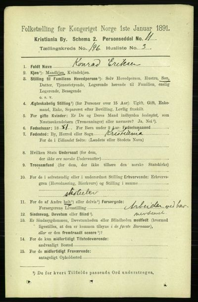 Image from object titled Folketelling 1891 - Kristiania - personsedler - side 118226