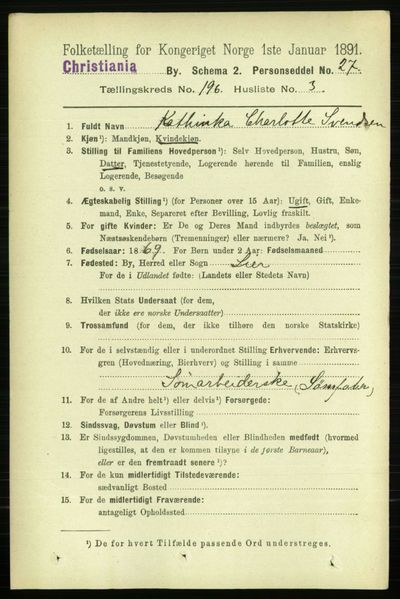 Image from object titled Folketelling 1891 - Kristiania - personsedler - side 118242