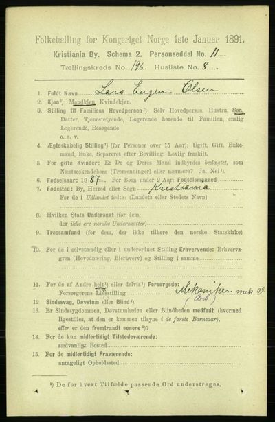Image from object titled Folketelling 1891 - Kristiania - personsedler - side 118549