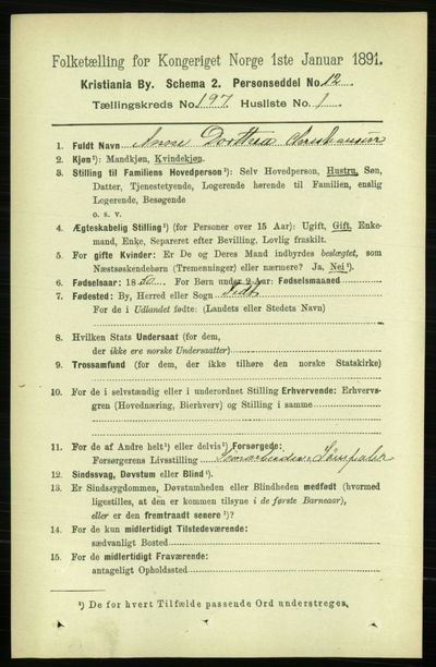Image from object titled Folketelling 1891 - Kristiania - personsedler - side 118811