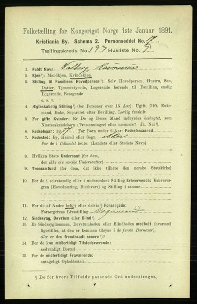 Image from object titled Folketelling 1891 - Kristiania - personsedler - side 119005