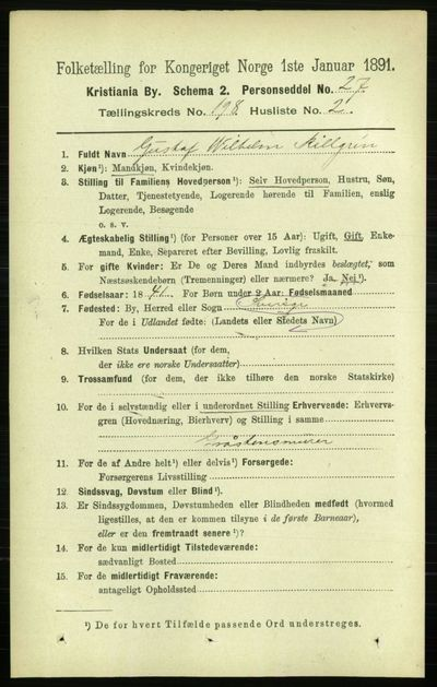 Image from object titled Folketelling 1891 - Kristiania - personsedler - side 119310