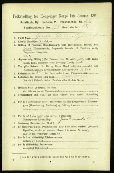 Image from object titled Folketelling 1891 - Kristiania - personsedler - side 119475