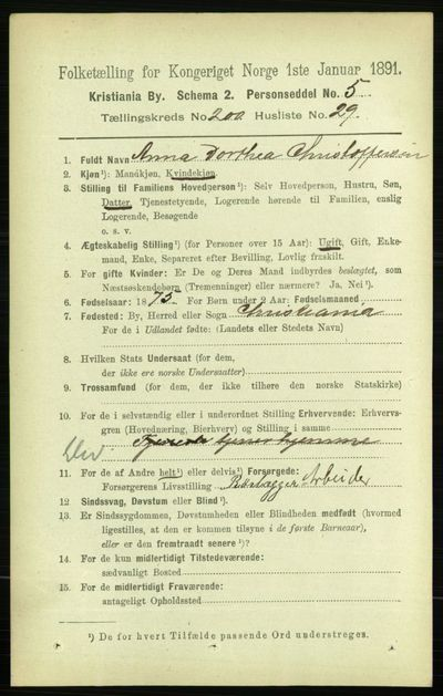 Image from object titled Folketelling 1891 - Kristiania - personsedler - side 120640