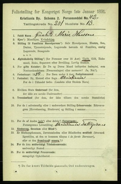 Image from object titled Folketelling 1891 - Kristiania - personsedler - side 121144
