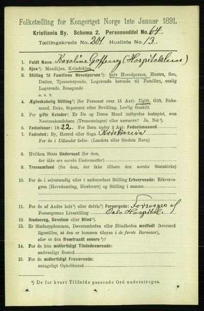 Image from object titled Folketelling 1891 - Kristiania - personsedler - side 121178