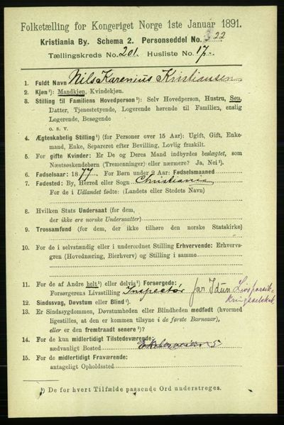 Image from object titled Folketelling 1891 - Kristiania - personsedler - side 121293