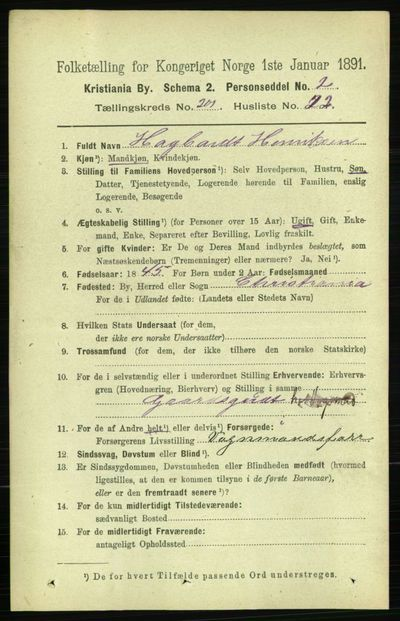 Image from object titled Folketelling 1891 - Kristiania - personsedler - side 121375