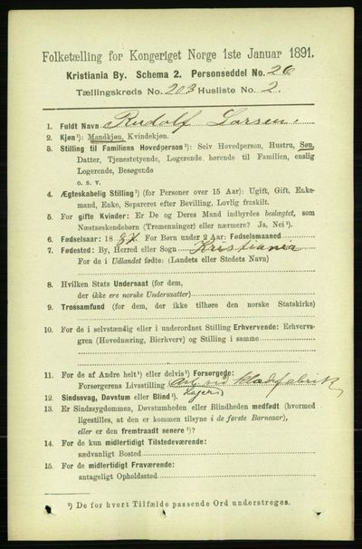 Image from object titled Folketelling 1891 - Kristiania - personsedler - side 122136