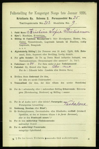 Image from object titled Folketelling 1891 - Kristiania - personsedler - side 122229