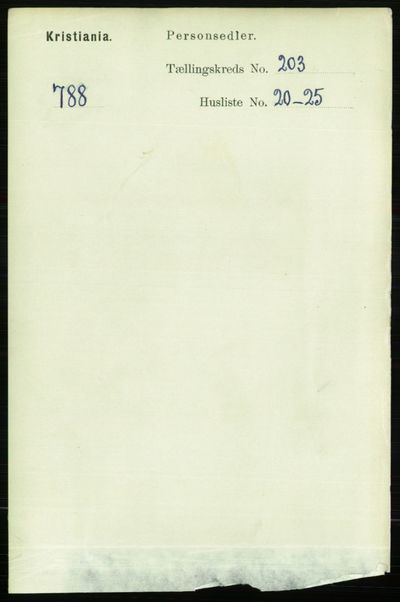 Image from object titled Folketelling 1891 - Kristiania - personsedler - side 122428