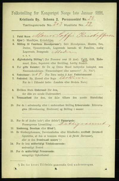 Image from object titled Folketelling 1891 - Kristiania - personsedler - side 122466