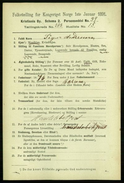 Image from object titled Folketelling 1891 - Kristiania - personsedler - side 151757