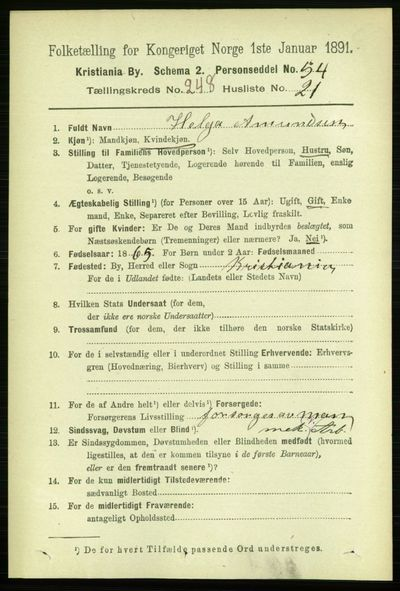 Image from object titled Folketelling 1891 - Kristiania - personsedler - side 152167