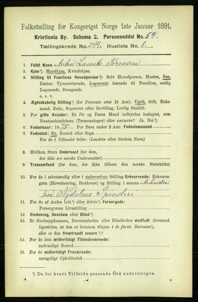 Image from object titled Folketelling 1891 - Kristiania - personsedler - side 152481
