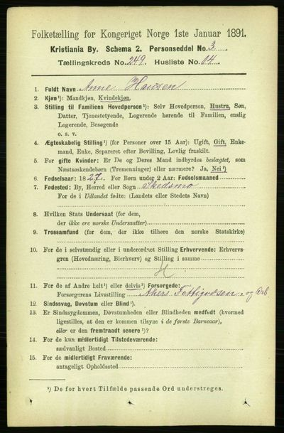 Image from object titled Folketelling 1891 - Kristiania - personsedler - side 152597