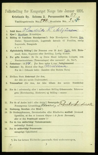 Image from object titled Folketelling 1891 - Kristiania - personsedler - side 153091