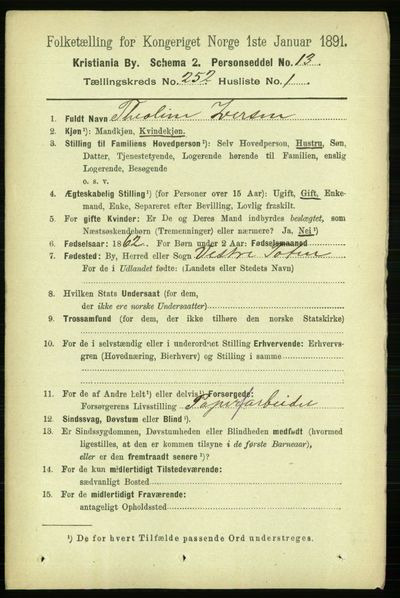 Image from object titled Folketelling 1891 - Kristiania - personsedler - side 153351