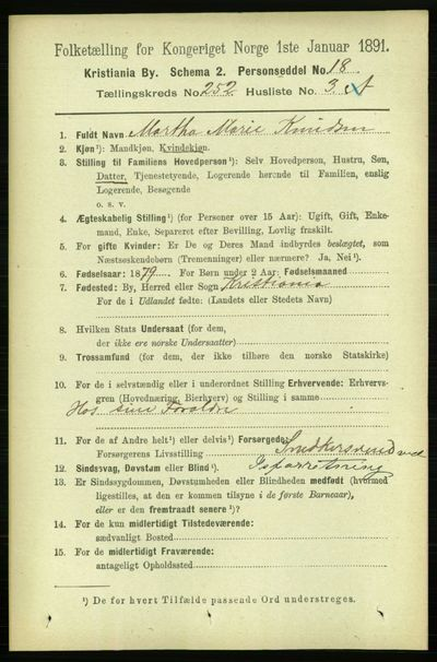 Image from object titled Folketelling 1891 - Kristiania - personsedler - side 153400