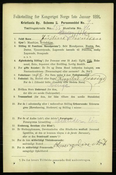 Image from object titled Folketelling 1891 - Kristiania - personsedler - side 155467