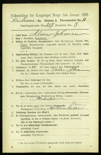 Image from object titled Folketelling 1891 - Kristiania - personsedler - side 156550