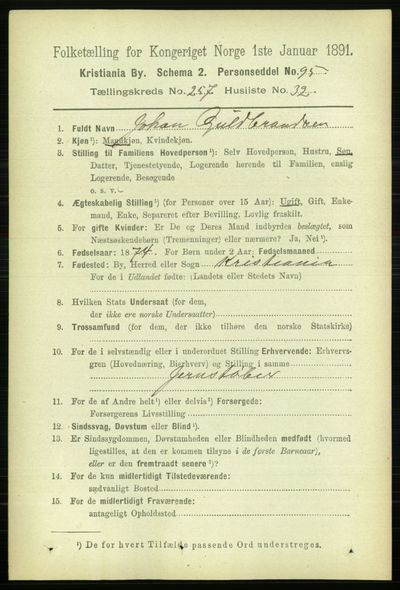 Image from object titled Folketelling 1891 - Kristiania - personsedler - side 157010