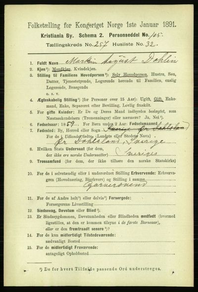 Image from object titled Folketelling 1891 - Kristiania - personsedler - side 157020
