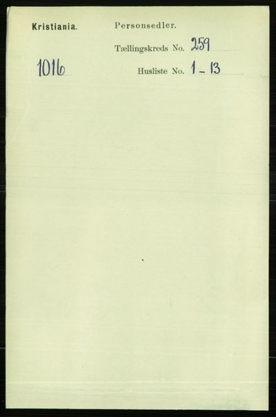 Image from object titled Folketelling 1891 - Kristiania - personsedler - side 157431