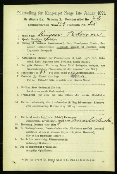 Image from object titled Folketelling 1891 - Kristiania - personsedler - side 157731