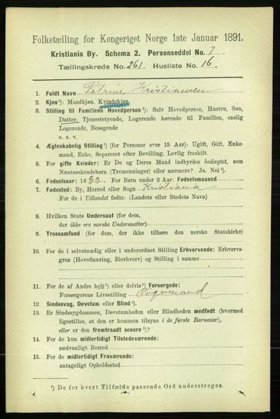 Image from object titled Folketelling 1891 - Kristiania - personsedler - side 158555
